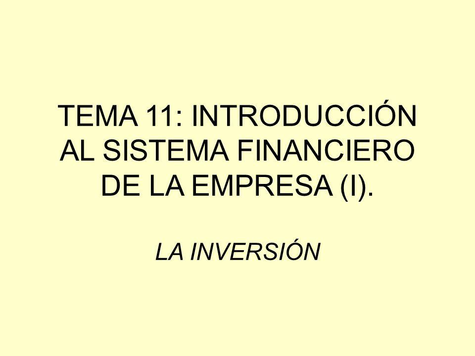 TEMA 11: INTRODUCCIÓN AL SISTEMA FINANCIERO DE LA EMPRESA (I)