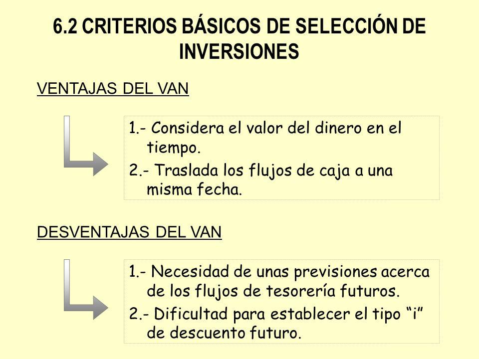 6.2 CRITERIOS BÁSICOS DE SELECCIÓN DE INVERSIONES