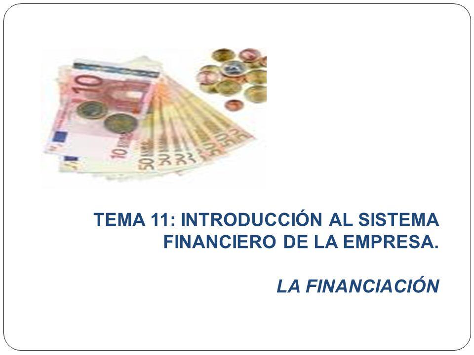 TEMA 11: INTRODUCCIÓN AL SISTEMA FINANCIERO DE LA EMPRESA