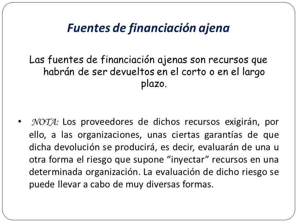 Fuentes de financiación ajena