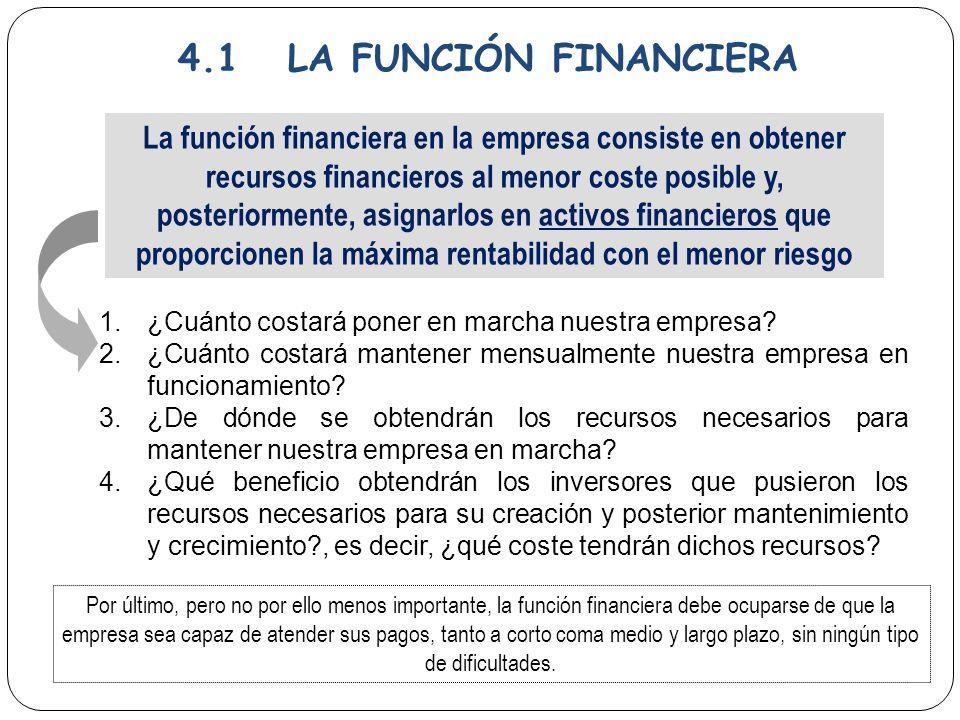 4.1 LA FUNCIÓN FINANCIERA