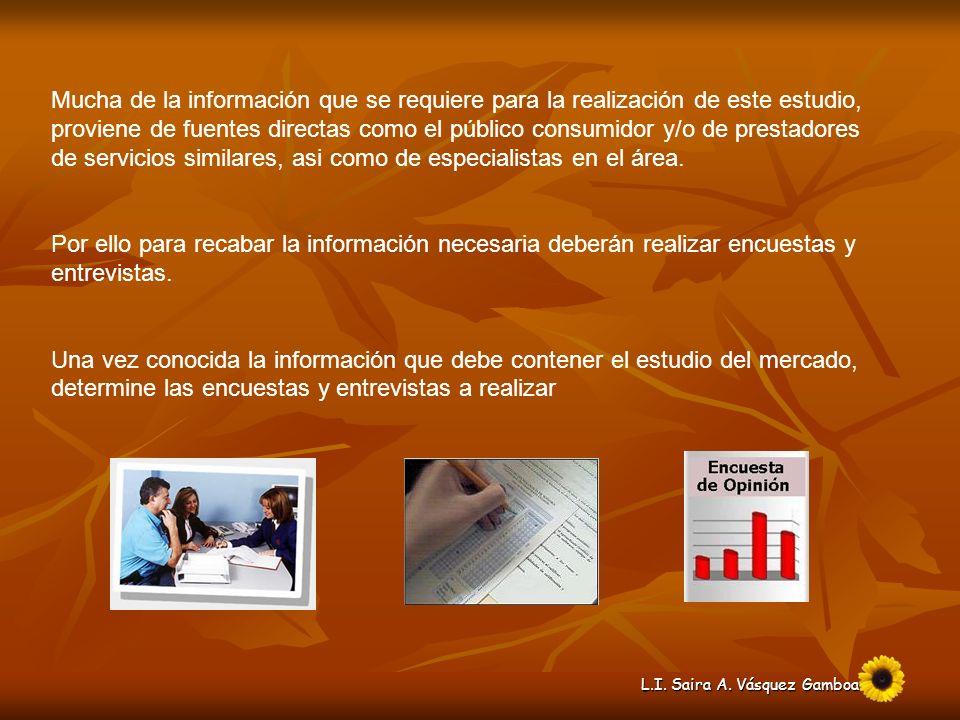 Mucha de la información que se requiere para la realización de este estudio, proviene de fuentes directas como el público consumidor y/o de prestadores de servicios similares, asi como de especialistas en el área.