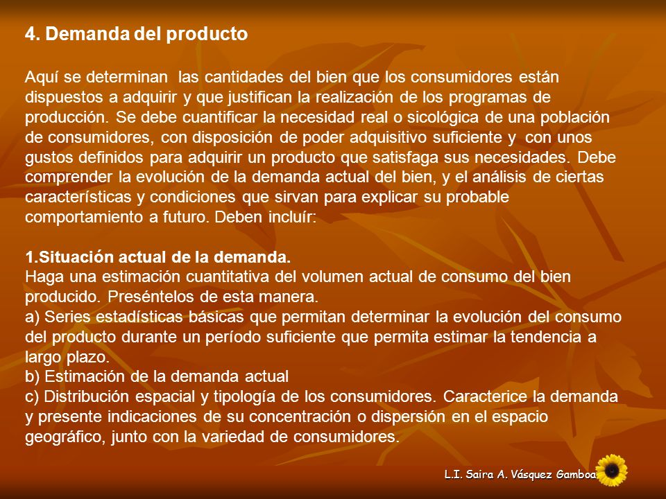 4. Demanda del producto