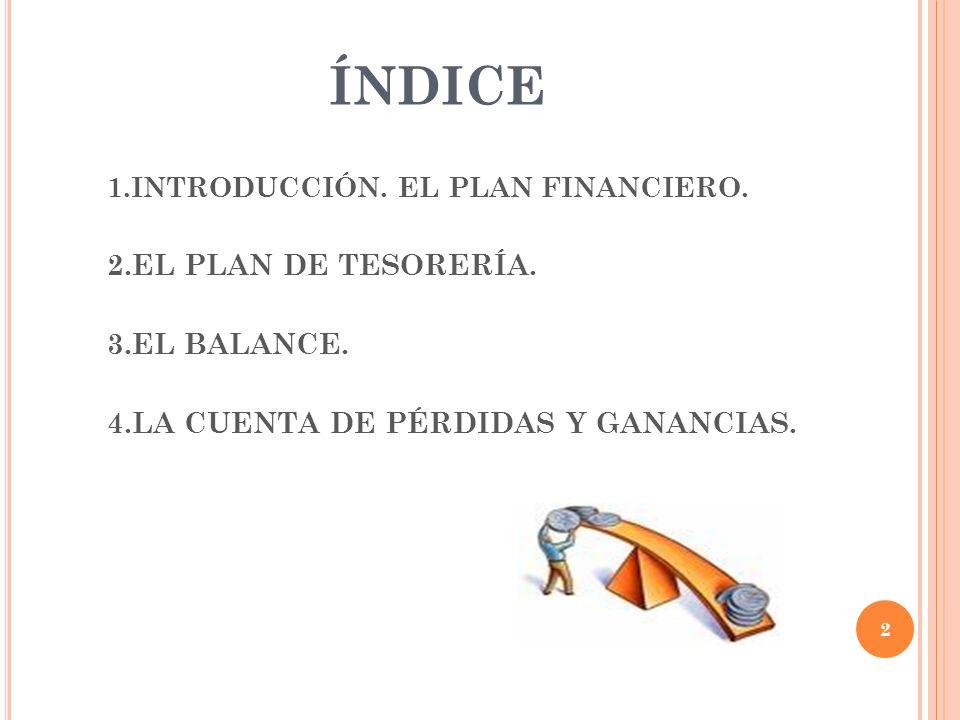 ÍNDICE 2.EL PLAN DE TESORERÍA. 3.EL BALANCE.