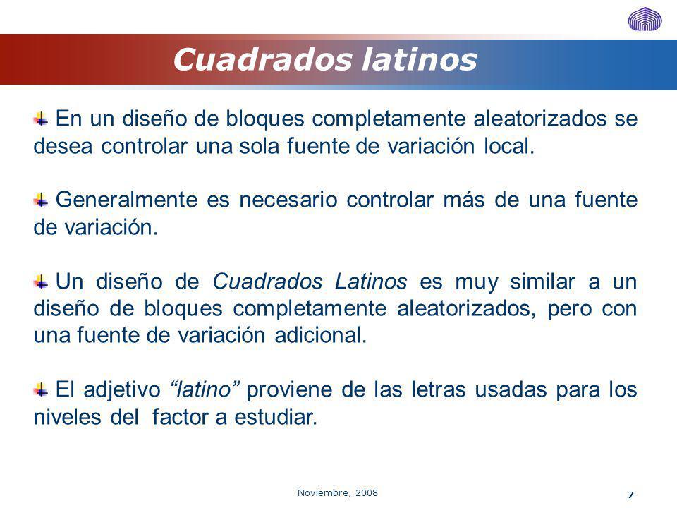 Cuadrados latinos En un diseño de bloques completamente aleatorizados se desea controlar una sola fuente de variación local.