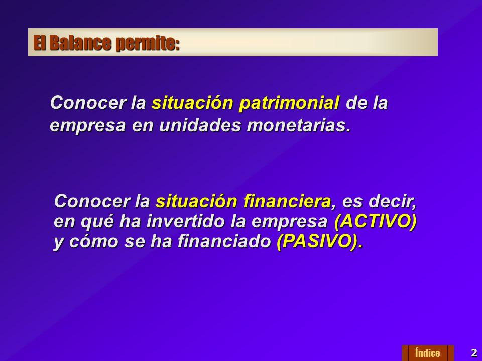 Conocer la situación patrimonial de la empresa en unidades monetarias.