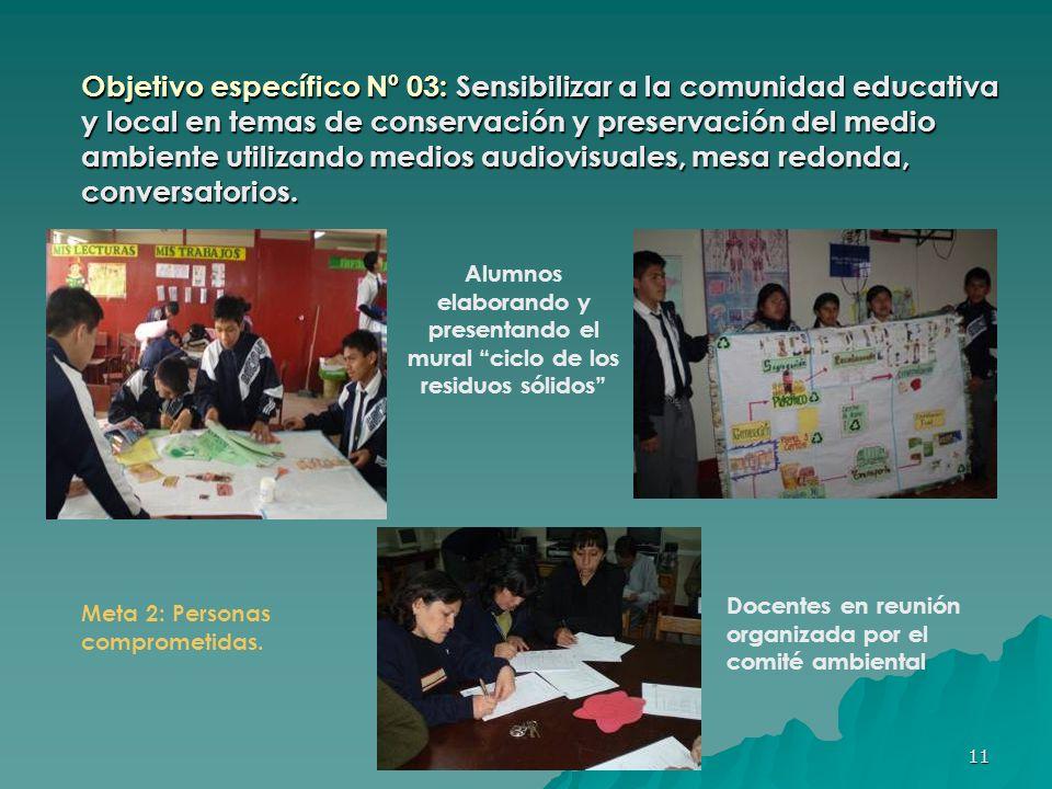 Objetivo específico Nº 03: Sensibilizar a la comunidad educativa y local en temas de conservación y preservación del medio ambiente utilizando medios audiovisuales, mesa redonda, conversatorios.
