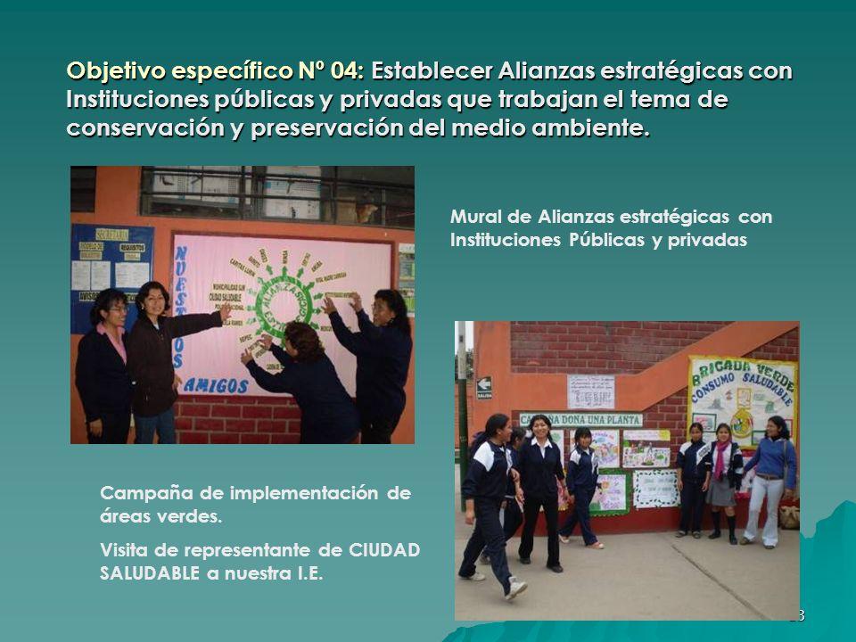 Objetivo específico Nº 04: Establecer Alianzas estratégicas con Instituciones públicas y privadas que trabajan el tema de conservación y preservación del medio ambiente.