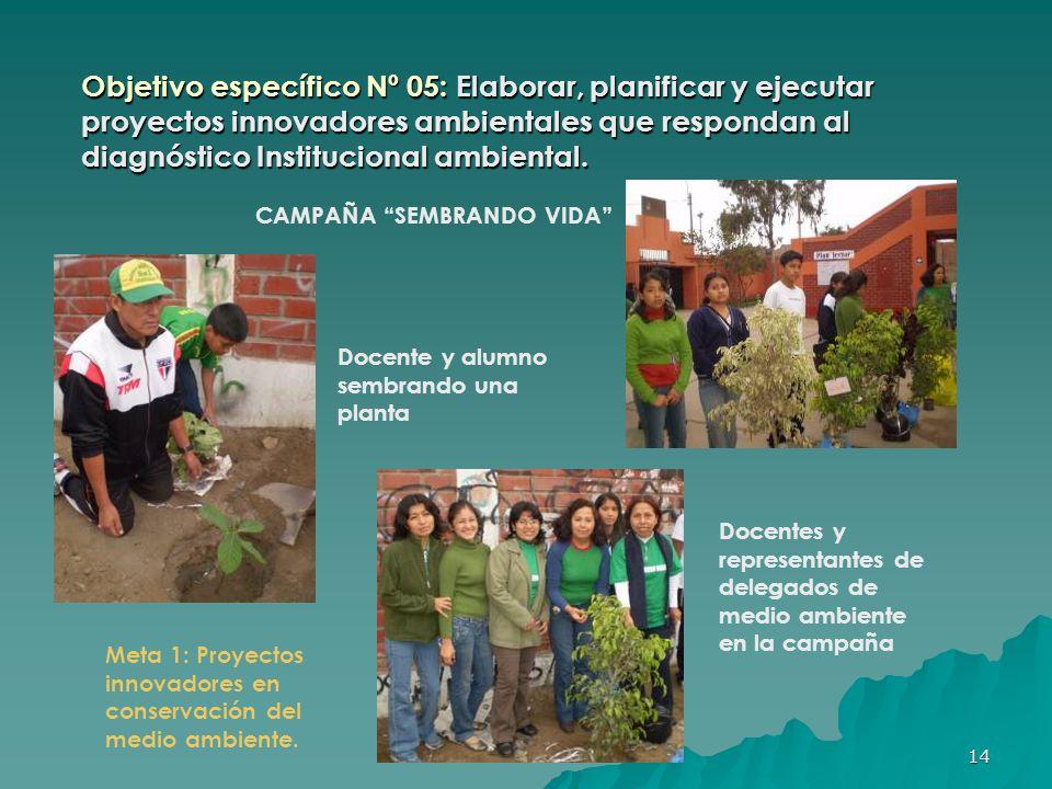 Objetivo específico Nº 05: Elaborar, planificar y ejecutar proyectos innovadores ambientales que respondan al diagnóstico Institucional ambiental.