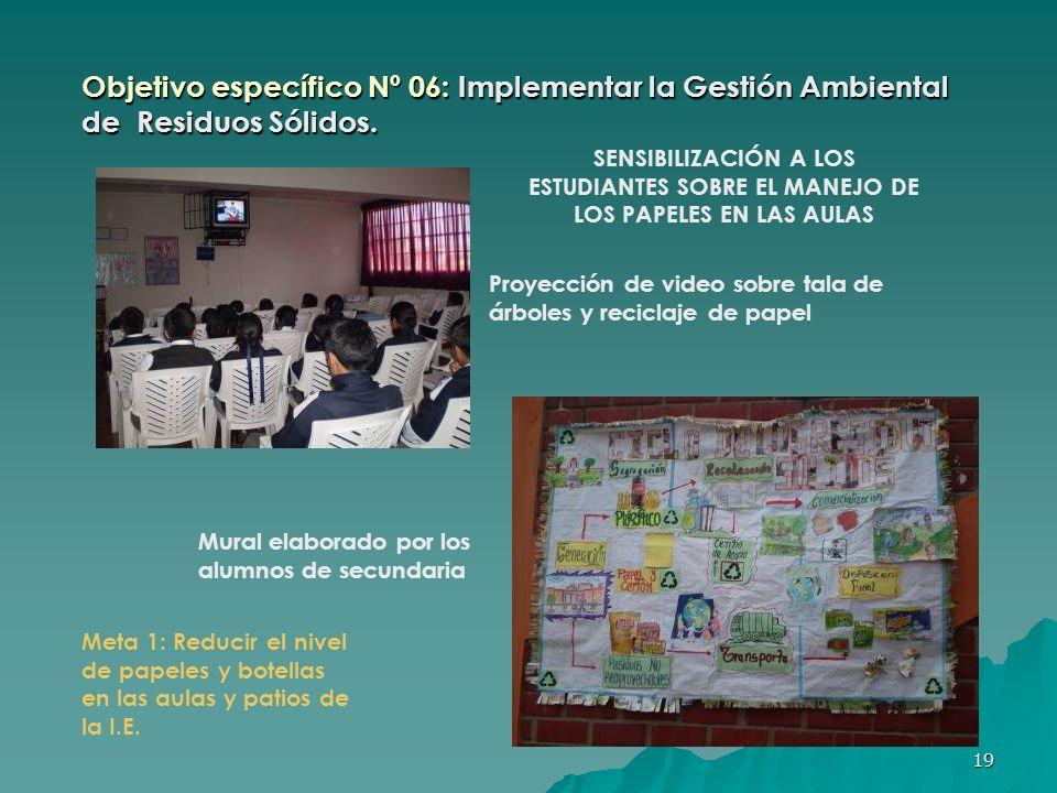 Objetivo específico Nº 06: Implementar la Gestión Ambiental de Residuos Sólidos.