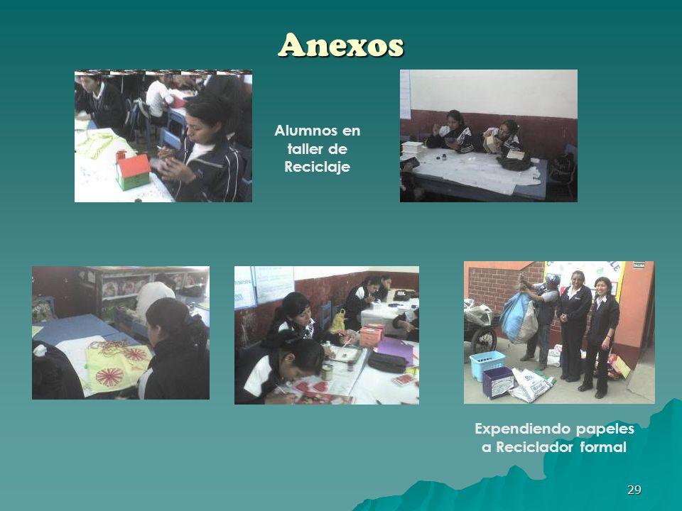 Alumnos en taller de Reciclaje Expendiendo papeles a Reciclador formal