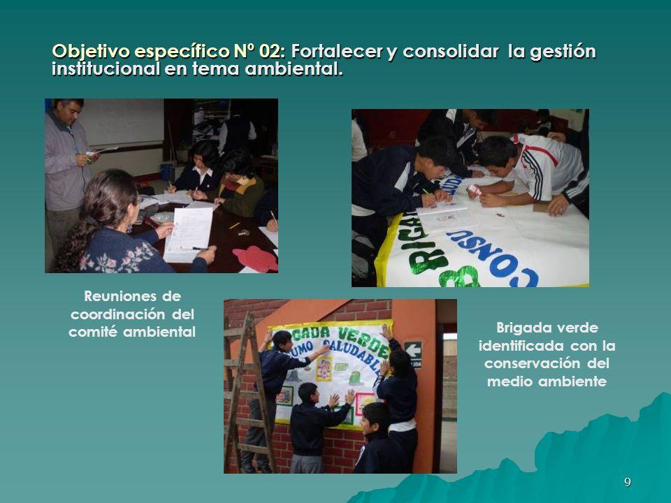Objetivo específico Nº 02: Fortalecer y consolidar la gestión institucional en tema ambiental.