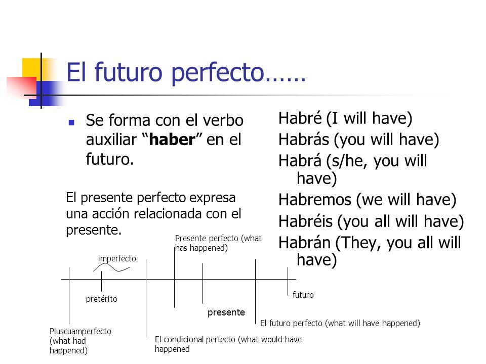 El futuro perfecto…… Se forma con el verbo auxiliar haber en el futuro. Habré (I will have) Habrás (you will have)