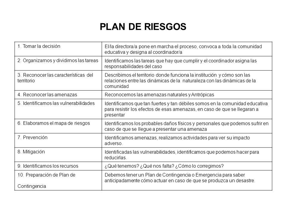 PLAN DE RIESGOS 1. Tomar la decisión