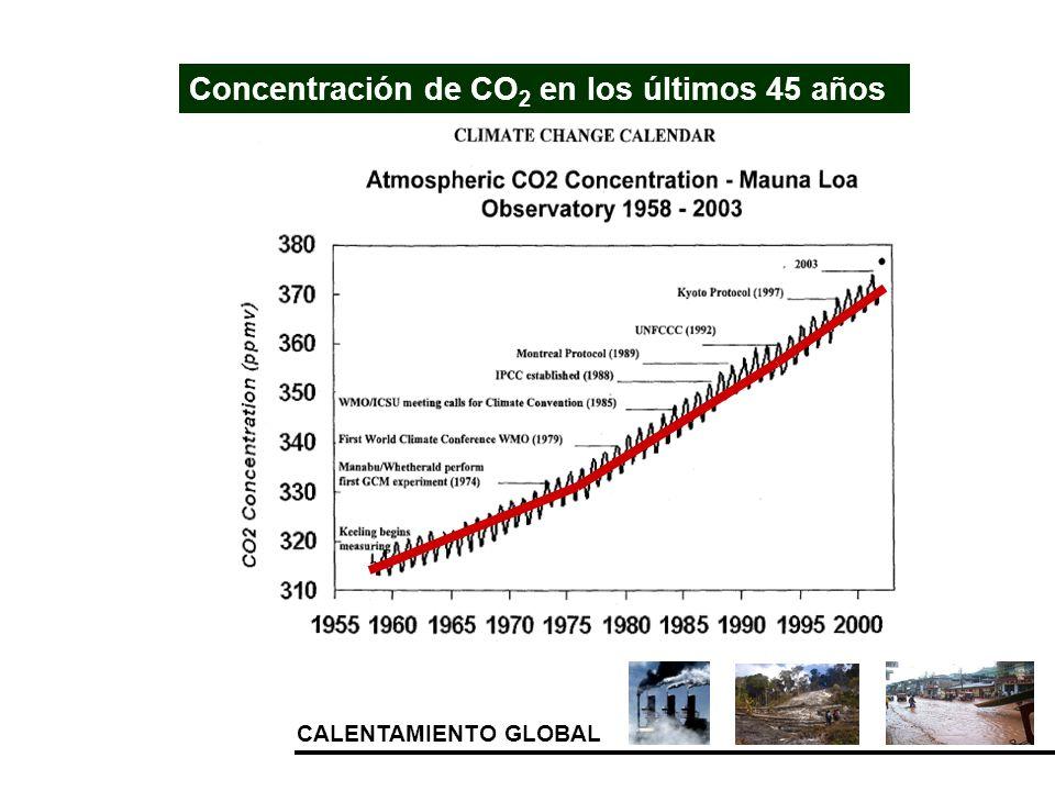 Concentración de CO2 en los últimos 45 años