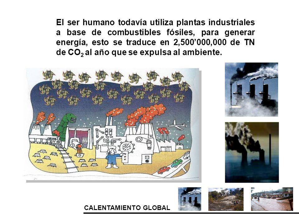 El ser humano todavía utiliza plantas industriales a base de combustibles fósiles, para generar energía, esto se traduce en 2,500'000,000 de TN de CO2 al año que se expulsa al ambiente.