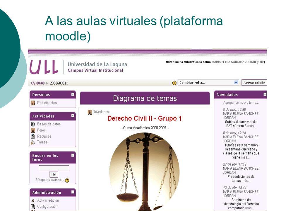 A las aulas virtuales (plataforma moodle)