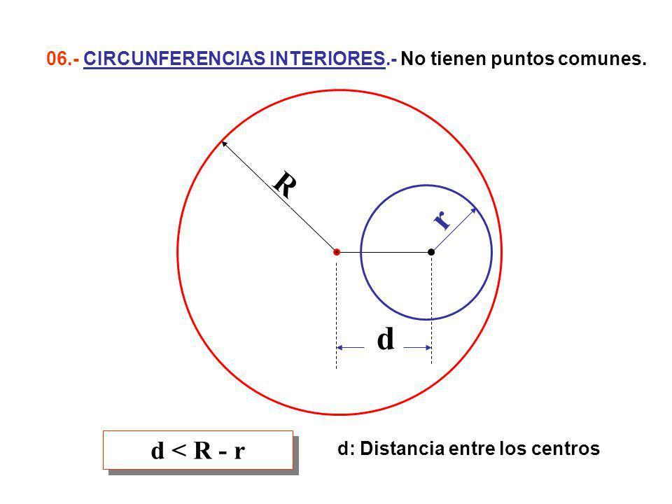06.- CIRCUNFERENCIAS INTERIORES.- No tienen puntos comunes.