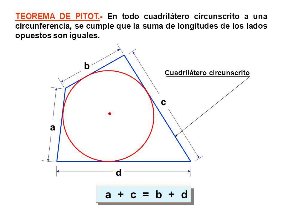 TEOREMA DE PITOT.- En todo cuadrilátero circunscrito a una circunferencia, se cumple que la suma de longitudes de los lados opuestos son iguales.