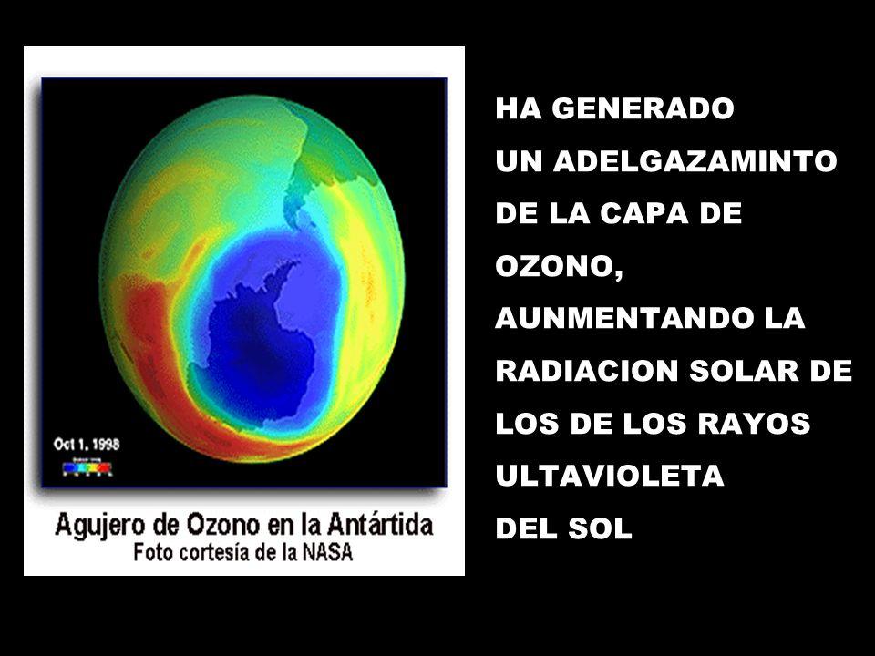 HA GENERADO UN ADELGAZAMINTO. DE LA CAPA DE. OZONO, AUNMENTANDO LA. RADIACION SOLAR DE. LOS DE LOS RAYOS.