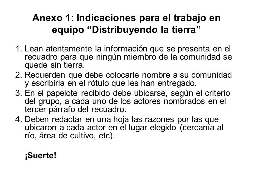 Anexo 1: Indicaciones para el trabajo en equipo Distribuyendo la tierra