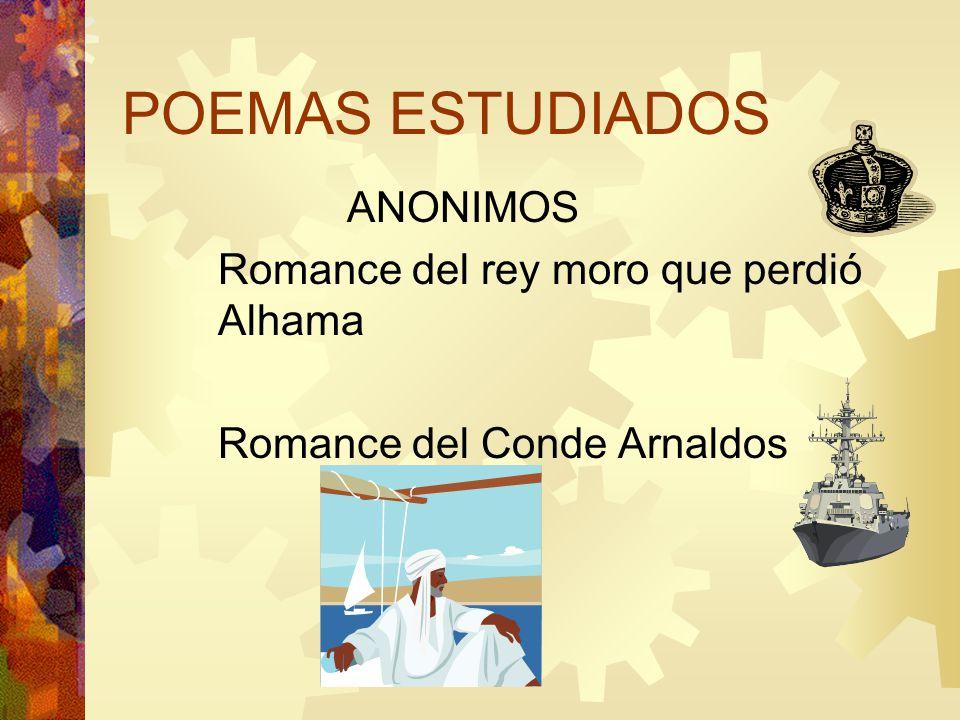 POEMAS ESTUDIADOS ANONIMOS Romance del rey moro que perdió Alhama