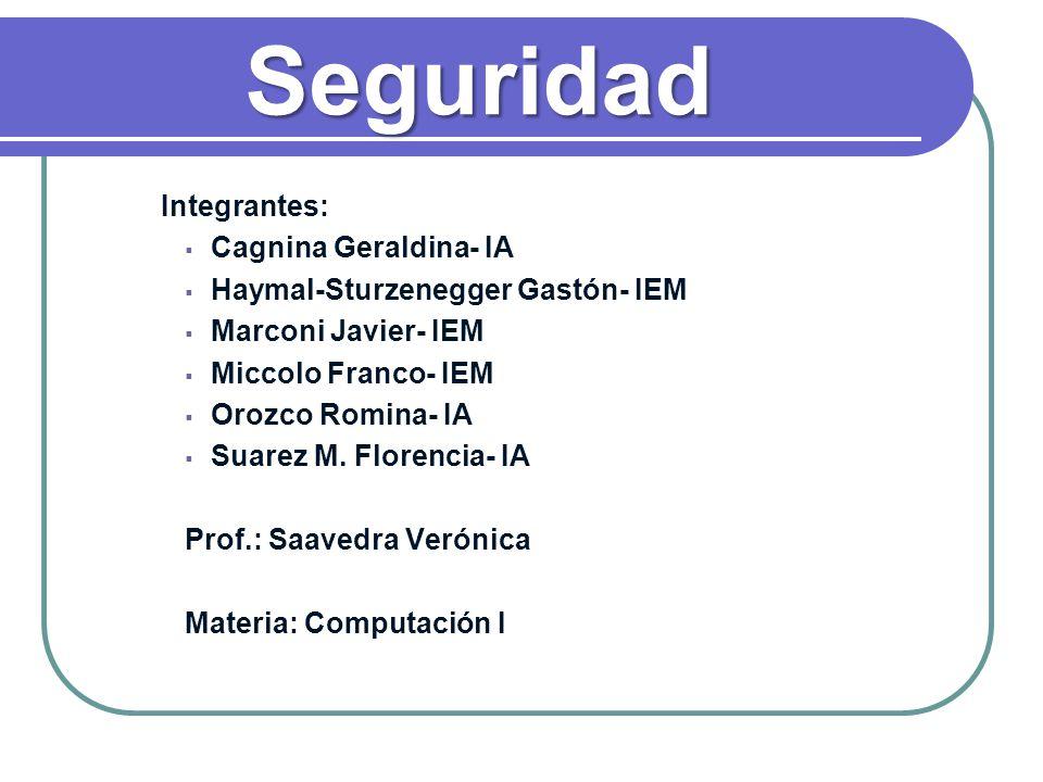 Seguridad Integrantes: Cagnina Geraldina- IA