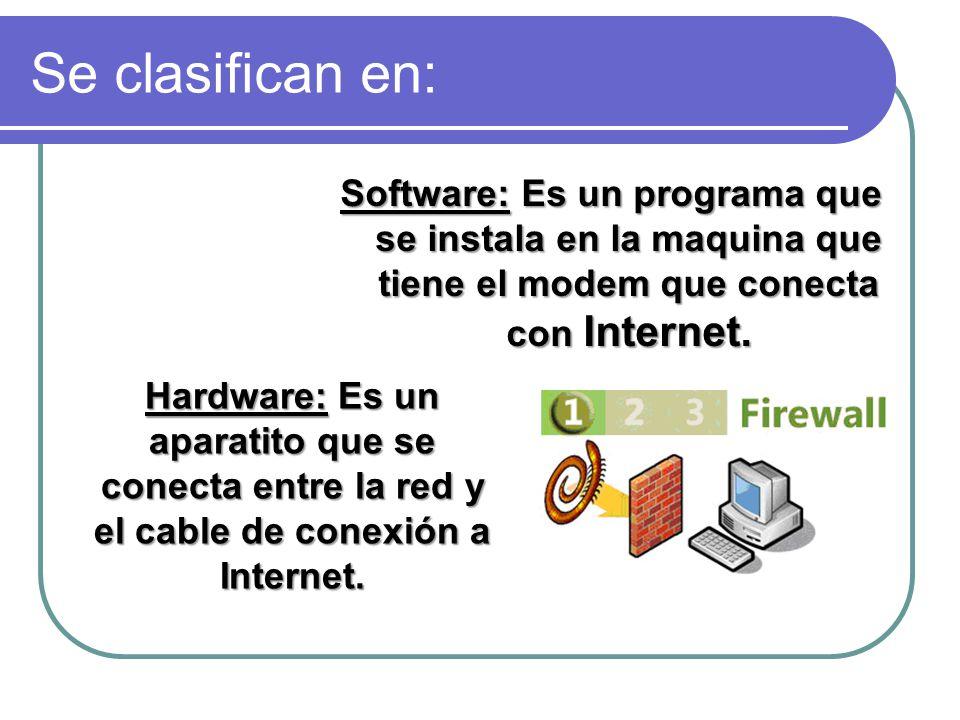 Se clasifican en: Software: Es un programa que se instala en la maquina que tiene el modem que conecta con Internet.