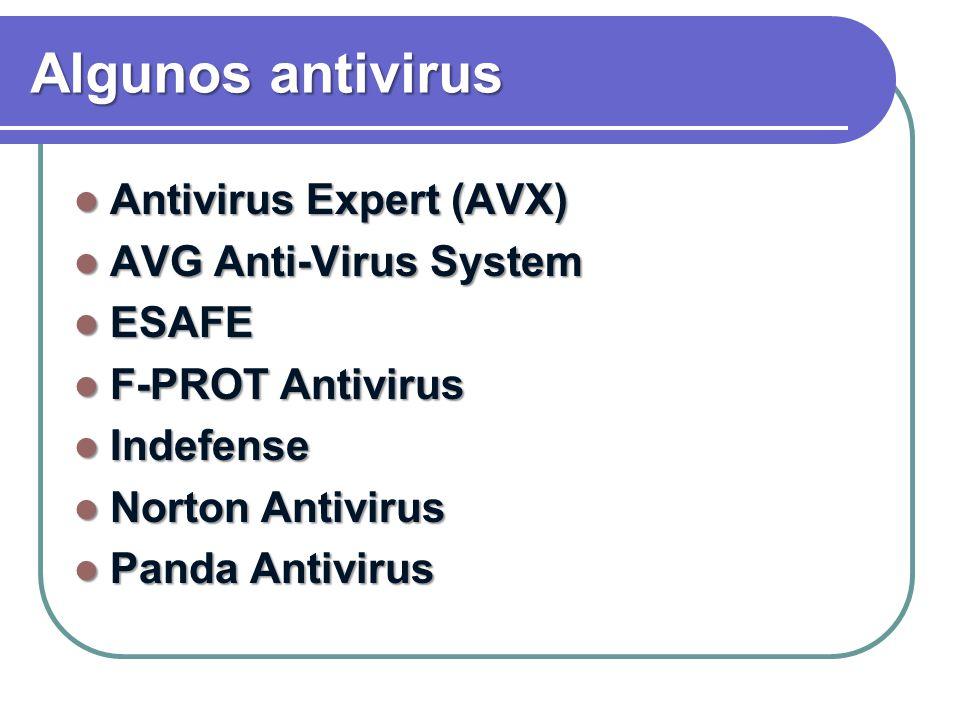 Algunos antivirus Antivirus Expert (AVX) AVG Anti-Virus System ESAFE