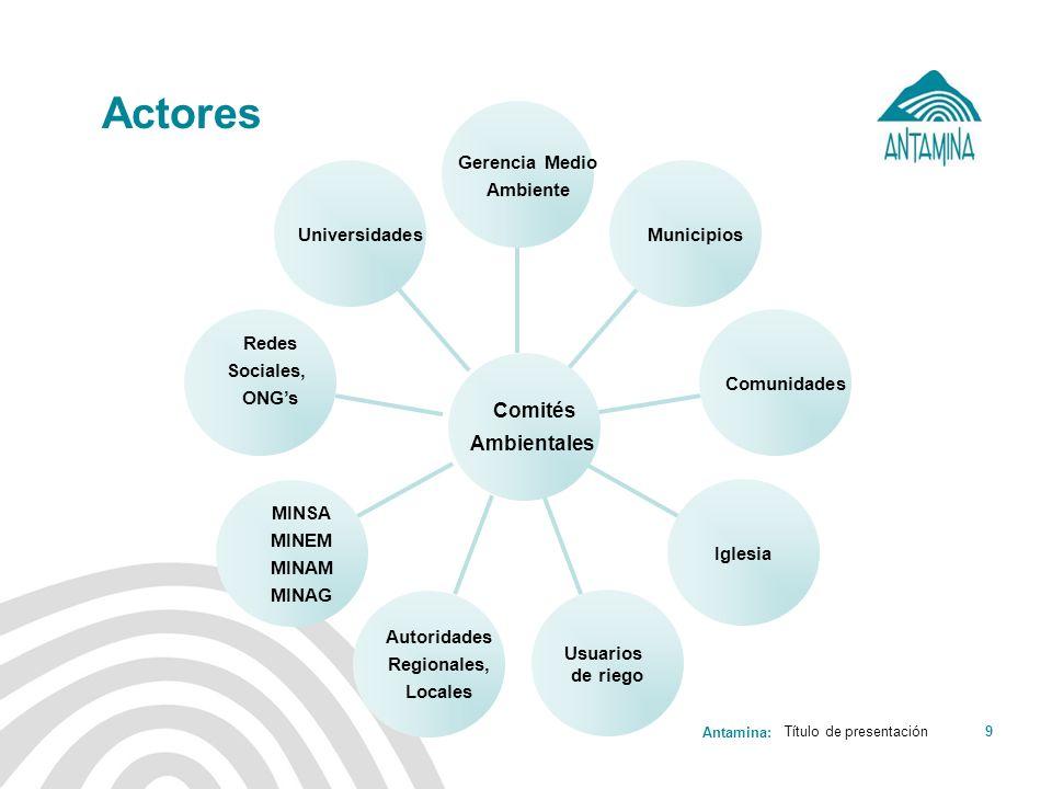 Actores Comités Ambientales Universidades Redes Sociales, ONG's MINSA