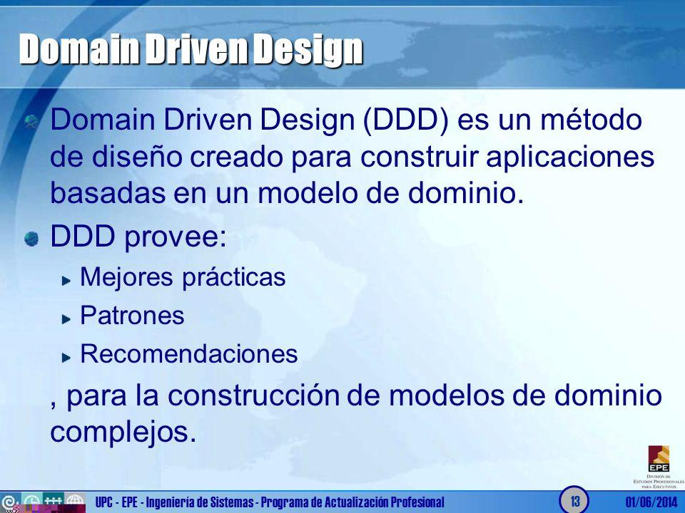 Domain Driven Design Domain Driven Design (DDD) es un método de diseño creado para construir aplicaciones basadas en un modelo de dominio.