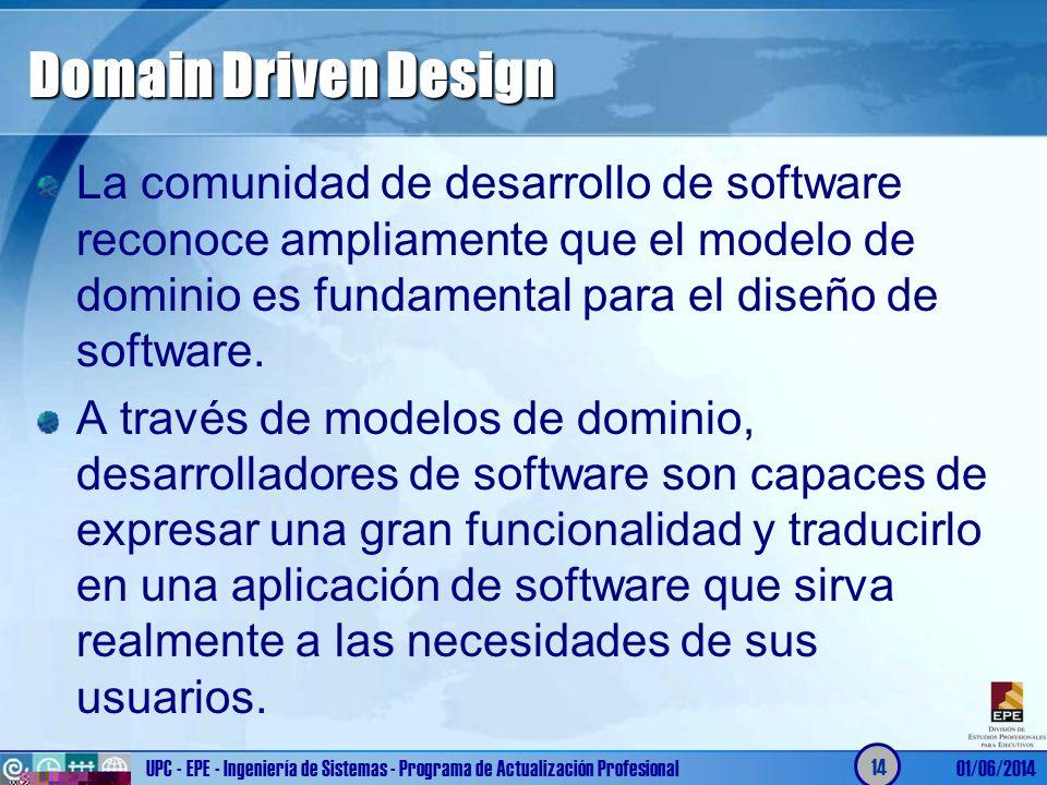 Domain Driven Design La comunidad de desarrollo de software reconoce ampliamente que el modelo de dominio es fundamental para el diseño de software.