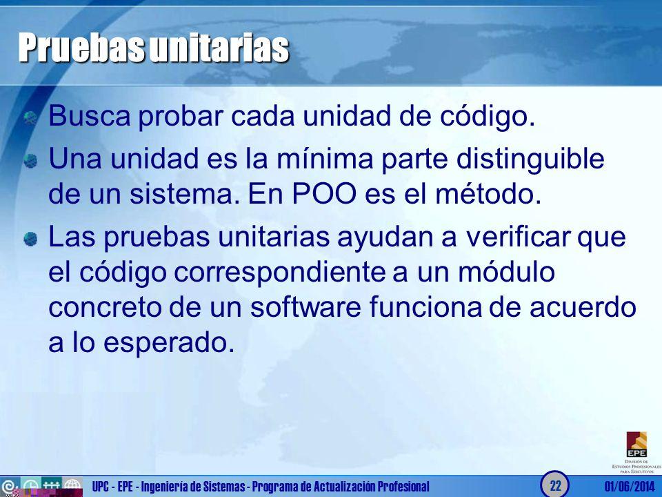 Pruebas unitarias Busca probar cada unidad de código.