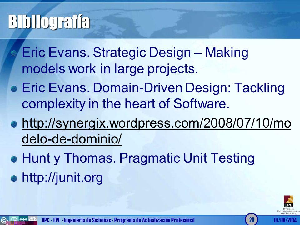 Bibliografía Eric Evans. Strategic Design – Making models work in large projects.