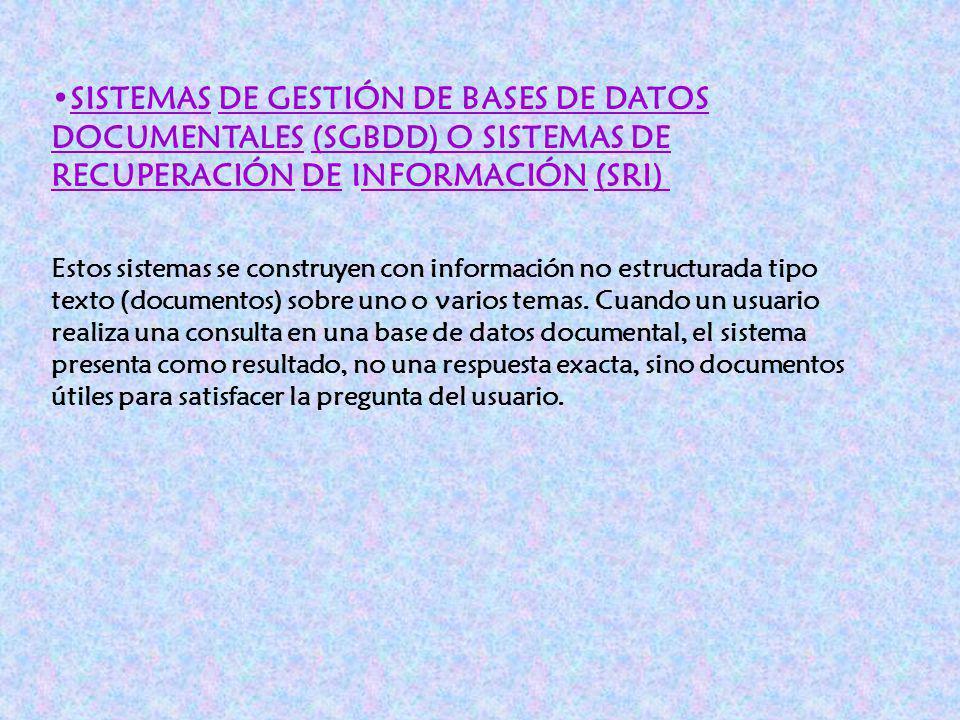 SISTEMAS DE GESTIÓN DE BASES DE DATOS DOCUMENTALES (SGBDD) O SISTEMAS DE RECUPERACIÓN DE INFORMACIÓN (SRI)