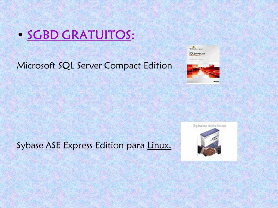 SGBD GRATUITOS: SBGBD COMERCIALES Microsoft SQL Server Compact Edition