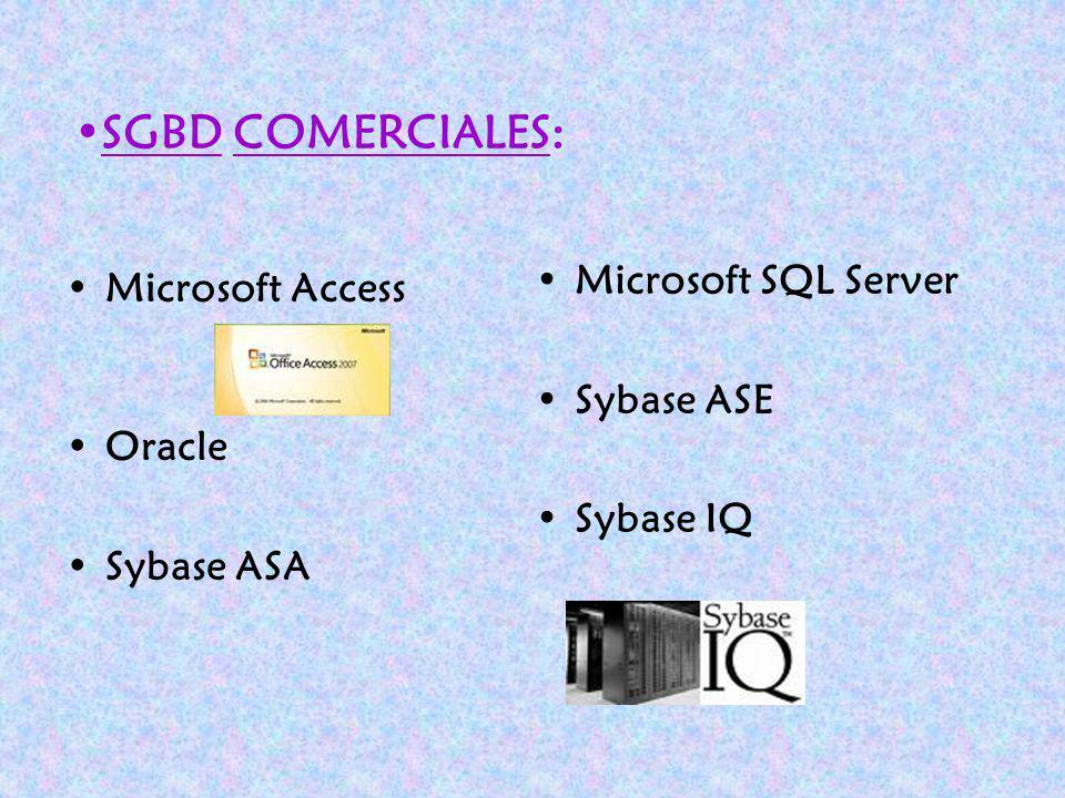 SGBD COMERCIALES: Microsoft Access Microsoft SQL Server Sybase ASE
