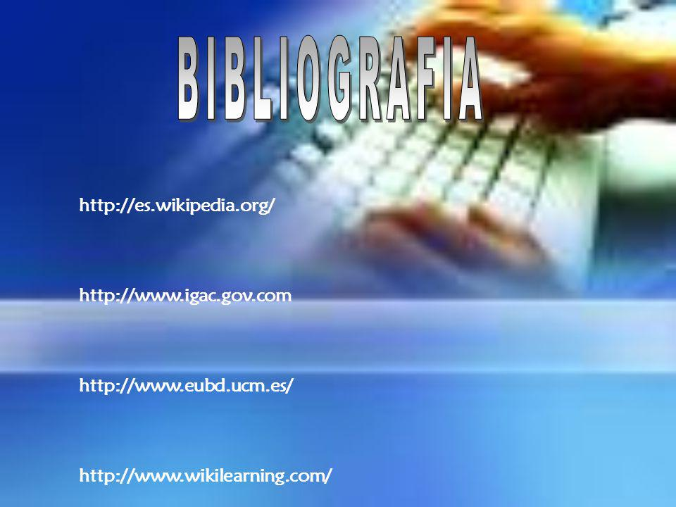 BIBLIOGRAFIA http://es.wikipedia.org/ http://www.igac.gov.com