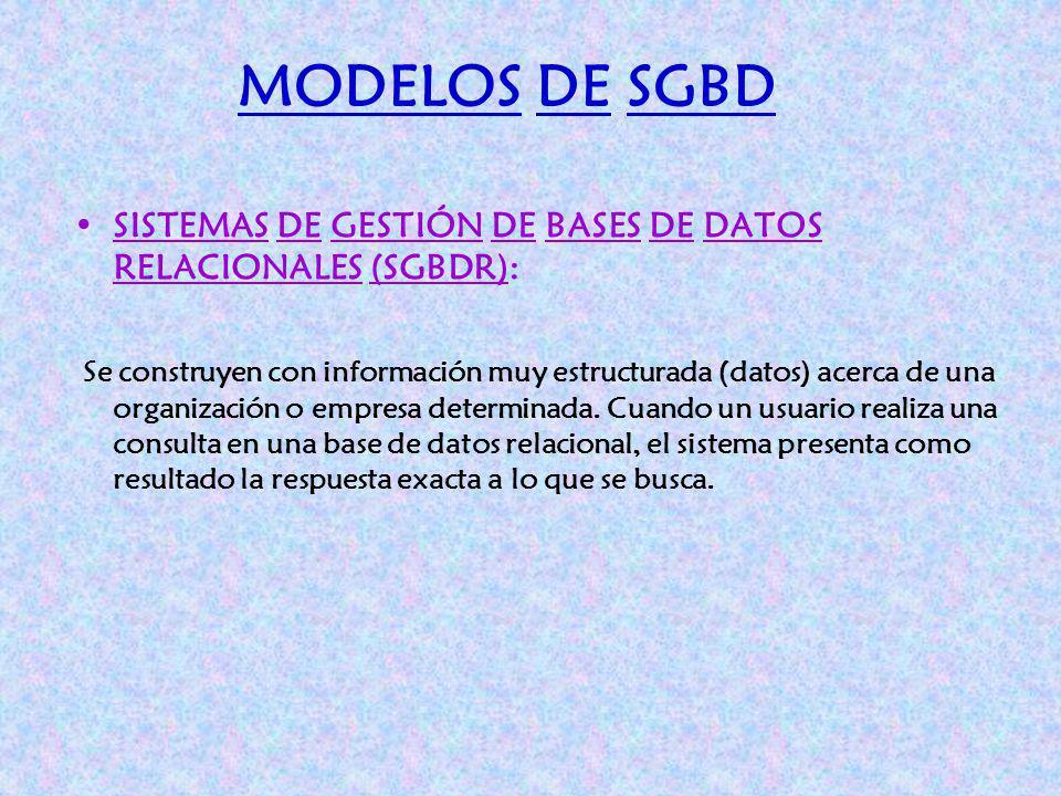 MODELOS DE SGBD SISTEMAS DE GESTIÓN DE BASES DE DATOS RELACIONALES (SGBDR):