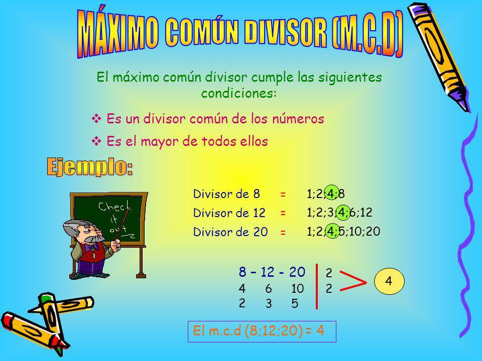 MÁXIMO COMÚN DIVISOR (M.C.D)