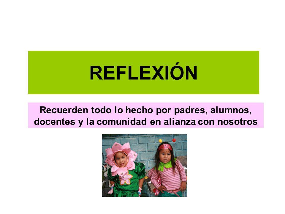 REFLEXIÓN Recuerden todo lo hecho por padres, alumnos, docentes y la comunidad en alianza con nosotros.