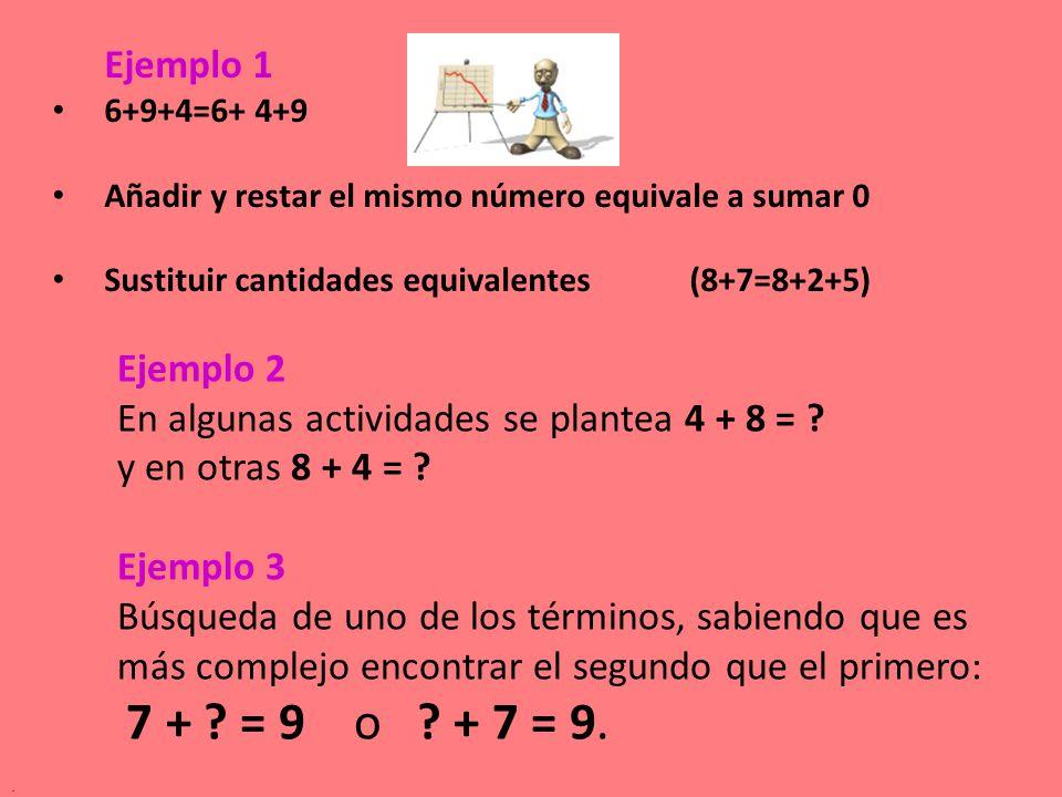 En algunas actividades se plantea 4 + 8 = y en otras 8 + 4 =