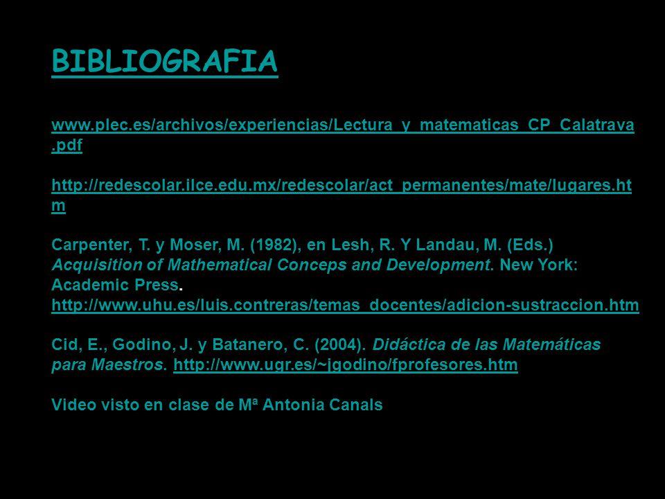 BIBLIOGRAFIA www.plec.es/archivos/experiencias/Lectura_y_matematicas_CP_Calatrava.pdf.