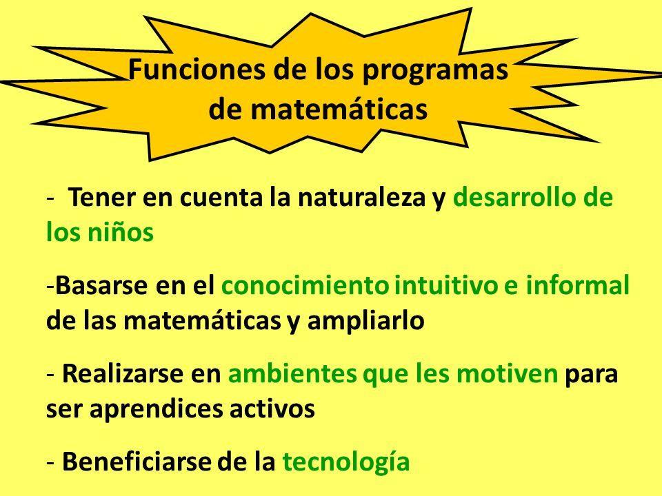 Funciones de los programas de matemáticas