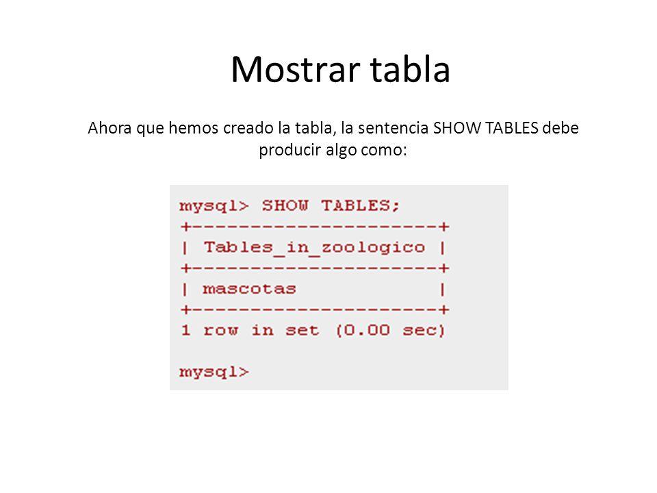 Mostrar tabla Ahora que hemos creado la tabla, la sentencia SHOW TABLES debe producir algo como: