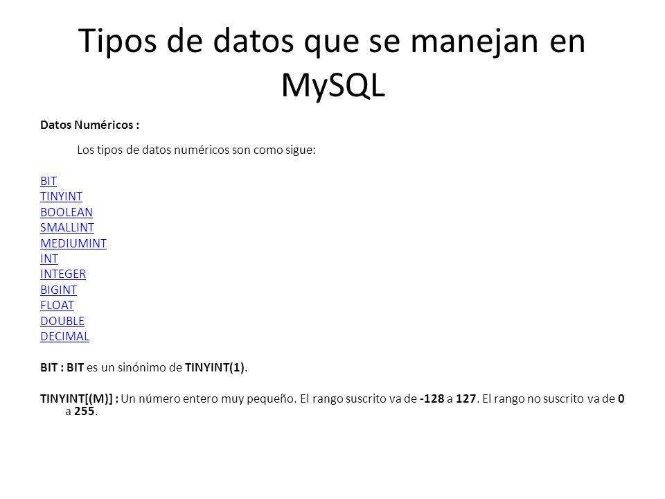 Tipos de datos que se manejan en MySQL