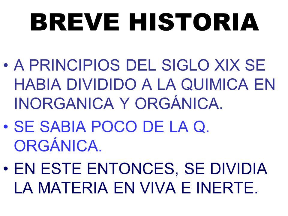 BREVE HISTORIA A PRINCIPIOS DEL SIGLO XIX SE HABIA DIVIDIDO A LA QUIMICA EN INORGANICA Y ORGÁNICA. SE SABIA POCO DE LA Q. ORGÁNICA.