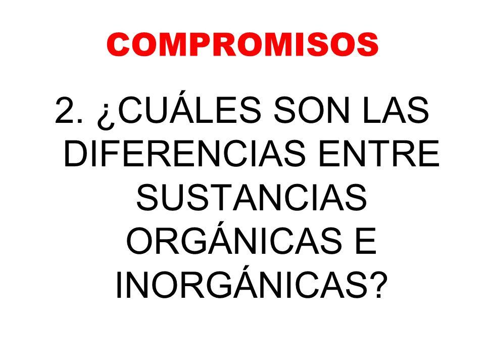 COMPROMISOS 2. ¿CUÁLES SON LAS DIFERENCIAS ENTRE SUSTANCIAS ORGÁNICAS E INORGÁNICAS