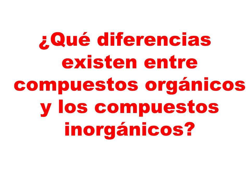 ¿Qué diferencias existen entre compuestos orgánicos y los compuestos inorgánicos