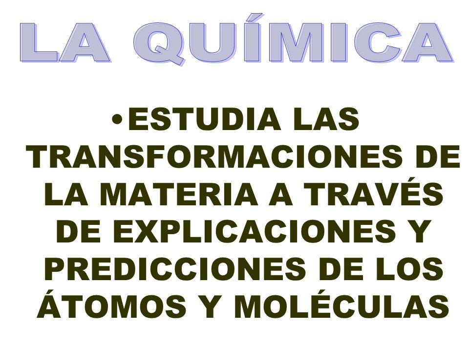 LA QUÍMICA ESTUDIA LAS TRANSFORMACIONES DE LA MATERIA A TRAVÉS DE EXPLICACIONES Y PREDICCIONES DE LOS ÁTOMOS Y MOLÉCULAS.